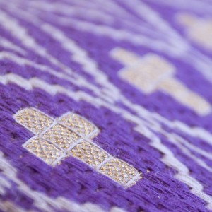 woven cross purple